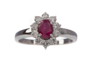 A CERTIFICATED RUBY AND DIAMOND CLUSTER RING