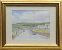 ALONG THE ROAD, A WATERCOLOUR BY TOM JOHNSTONE, AND TWO OTHERS