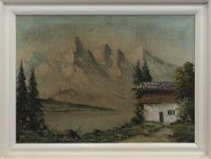MOUNTAIN SCENE, AN OIL BY MARTINI