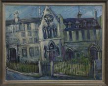 OLD CHURCH, GORBALS, AN OIL BY FREIDA SCOTT