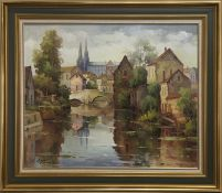 CHARTRES WITH CATHEDRAL, AN OIL BY LUCIEN CHENU