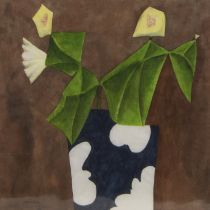 BLUE VASE, WHITE FLOWER, A WATERCOLOUR BY DAVID JOHNSTON