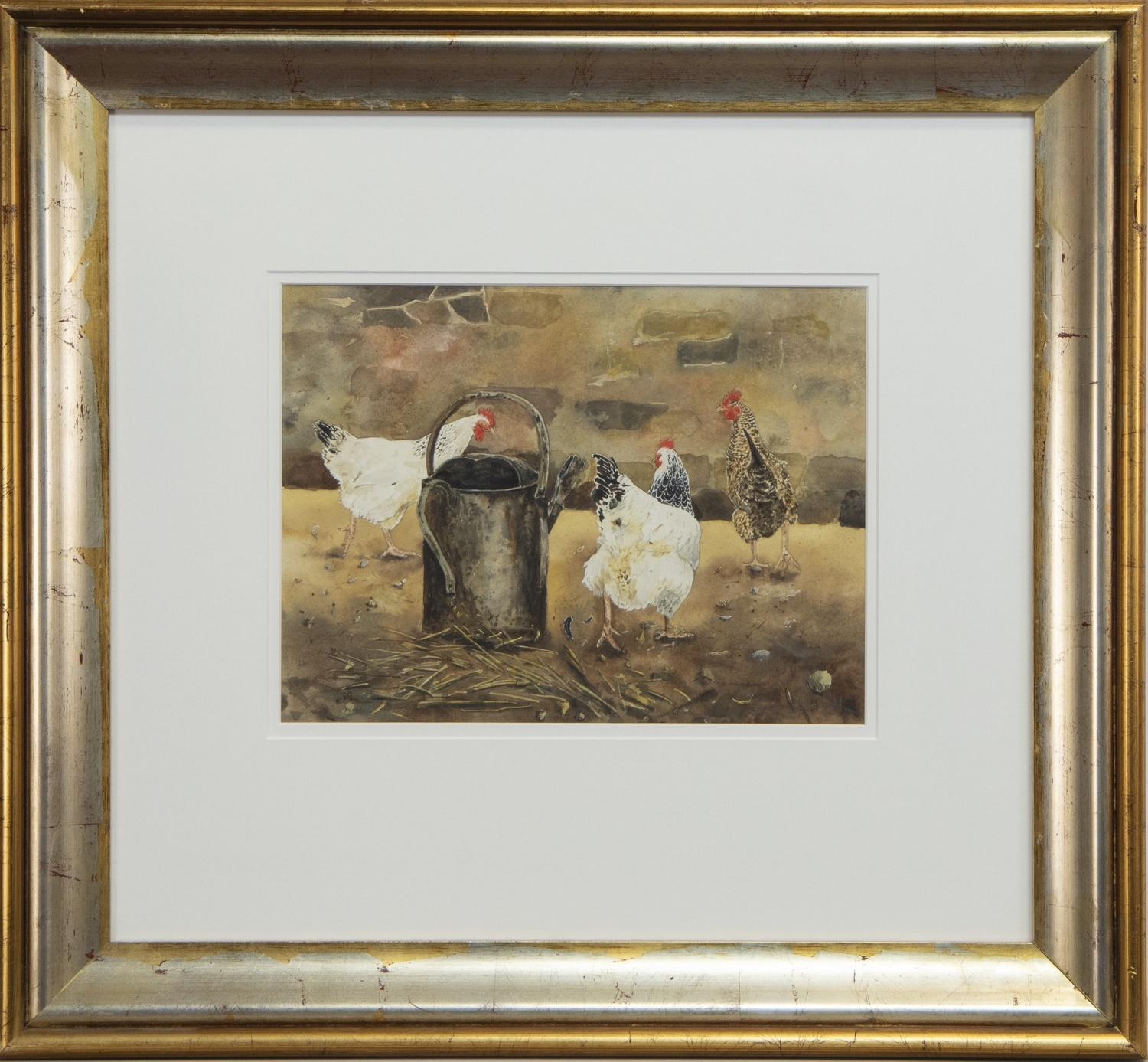 TWO WATERCOLOURS OF HENS BY SUSAN MITCHELL - Image 2 of 2