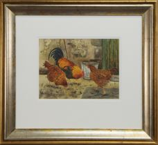 TWO WATERCOLOURS OF HENS BY SUSAN MITCHELL