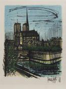 NOTRE DAME, PARIS 1968, A LITHOGRAPH BY BERNARD BUFFET