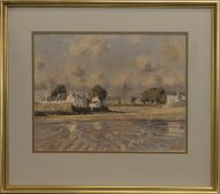 CHILDREN PLAYING IN BEACH SHALLOWS, A PASTEL BY RICHARD FORSYTH