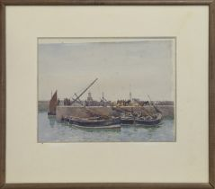 SCOTTISH HARBOUR SCENE, A WATERCOLOUR BY CHARLES DOWELL