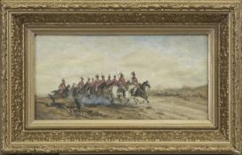 MILITARY SCENES, WATERCOLOURS BY L BALL