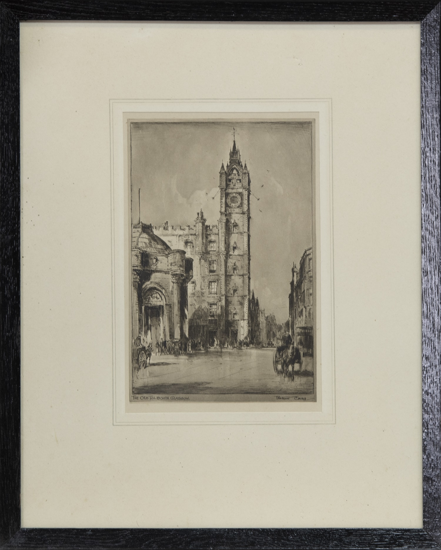 THE OLD TOLLBOOTH, GLASGOW, A PRINT BY PRESTON CRIBB