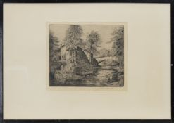 MILL BY RIVER, AN ETCHING BY MATTHEW HENDERSON