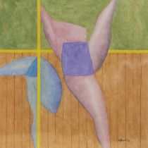 DANCER AT THE BARRE, A WATERCOLOUR BY DAVID JOHNSTON