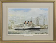 """THE 'WEE' """"QUEEN MARY"""" (QUEEN MARY 11) PASSES 'THE BIG' """"QUEEN MARY"""" 1935, A BY IAN ORCHARDSON"""