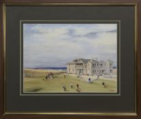 ST ANDREWS GOLF CLUB, A WATERCOLOUR BY BILL MCANALLY