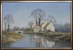 RIVERSIDE COTTAGE, AN OIL BY MALCOLM BUTTS