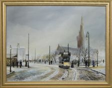 TRAM IN FRONT OF GLASGOW CATHEDRAL, AN OIL BY J DYKES