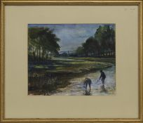 TWO BOYS IN THE RIVER, A WATERCOLOUR BY MITCHELL
