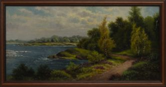 COASTAL SCENE, AN OIL BY T A RUSSELL