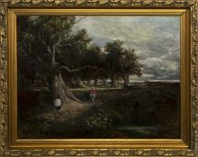 FIGURES ON A WOODLAND PATH, AN OIL BY KENNETH LOCK