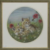 TWO KITTENS, A MIXED MEDIA BY JANET PIDOUX