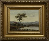 FIGURE BY LAKESIDE, AN OIL BY GEORGE FRANKLIN