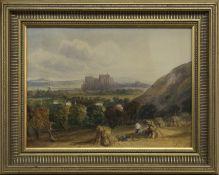 DISTANT VIEWS OF EDINBURGH CASTLE, A WATERCOLOUR