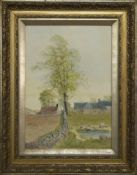 FARM SCENE WITH DUCK POND, A WATERCOLOUR BY R MEADOWS