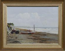 DOWNDERRY BEACH, CORNWALL, AN OIL BY STUART BOLTON
