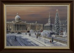 TRAFALGAR'S SQUARE, LONDON, AN OIL BY MALCOLM BUTTS