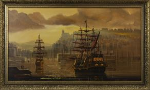 SHIPS AT DOCK, AN OIL BY W H STOCKMAN