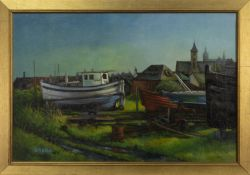 OUT OF DOCK, AN OIL BY D H LESLIE