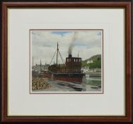 DISCHARGE COMPLETE - PUFFER 'ZULU' AT TARBERT, A WATERCOLOUR BY BRIAN LARGE