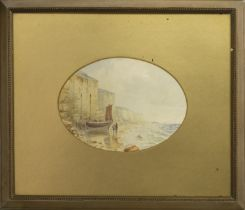 ON THE COAST AT HASTINGS, A WATERCOLOUR BY C T DICKSON