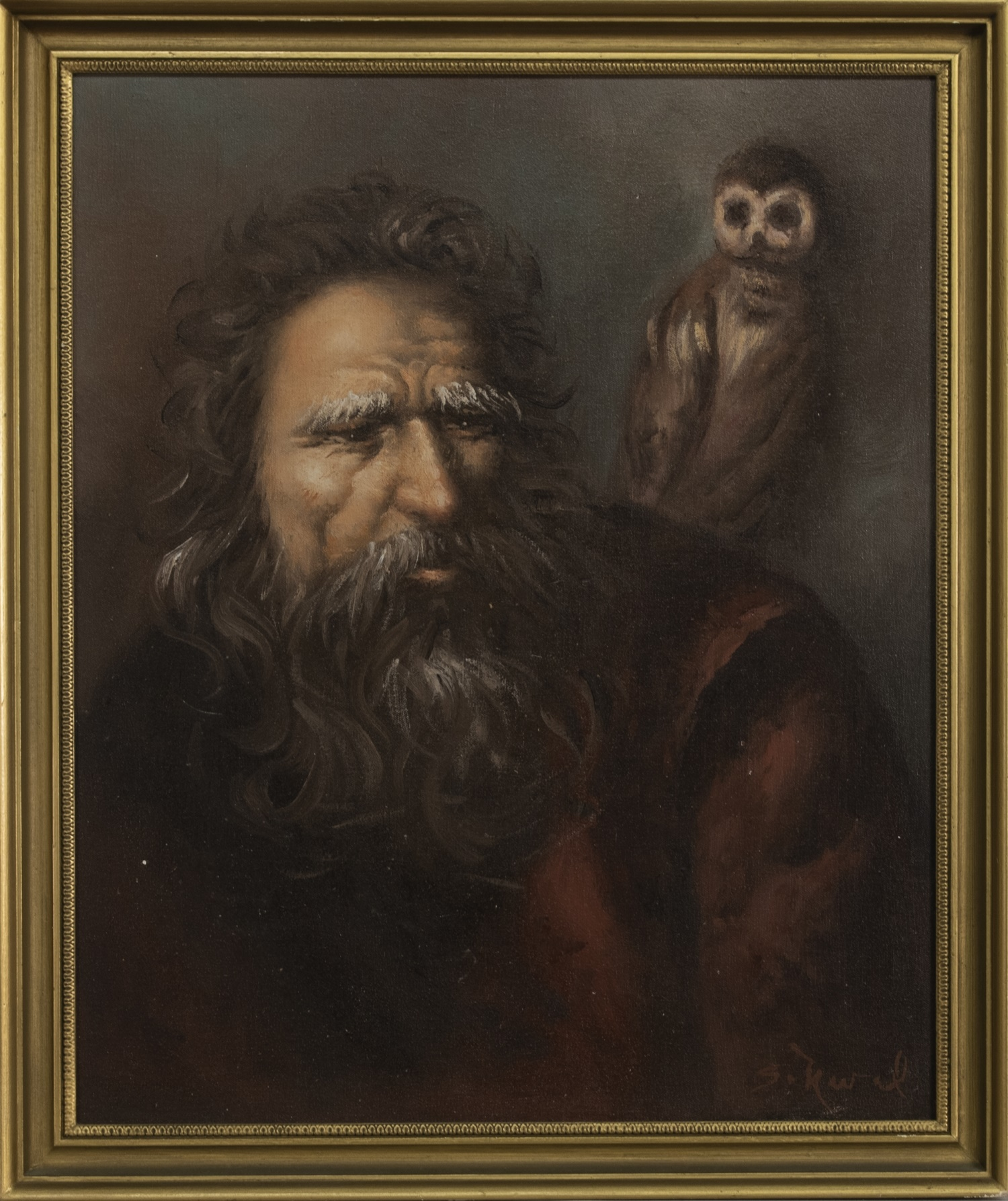 PHILOSOPHER AND OWL, AN OIL BY SIAUW TIK KWIE