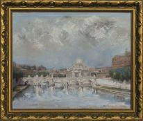 ST PETERS FROM THE TIBER, AN OIL BY ALEXANDER G BEAUCHAMP CAMERON