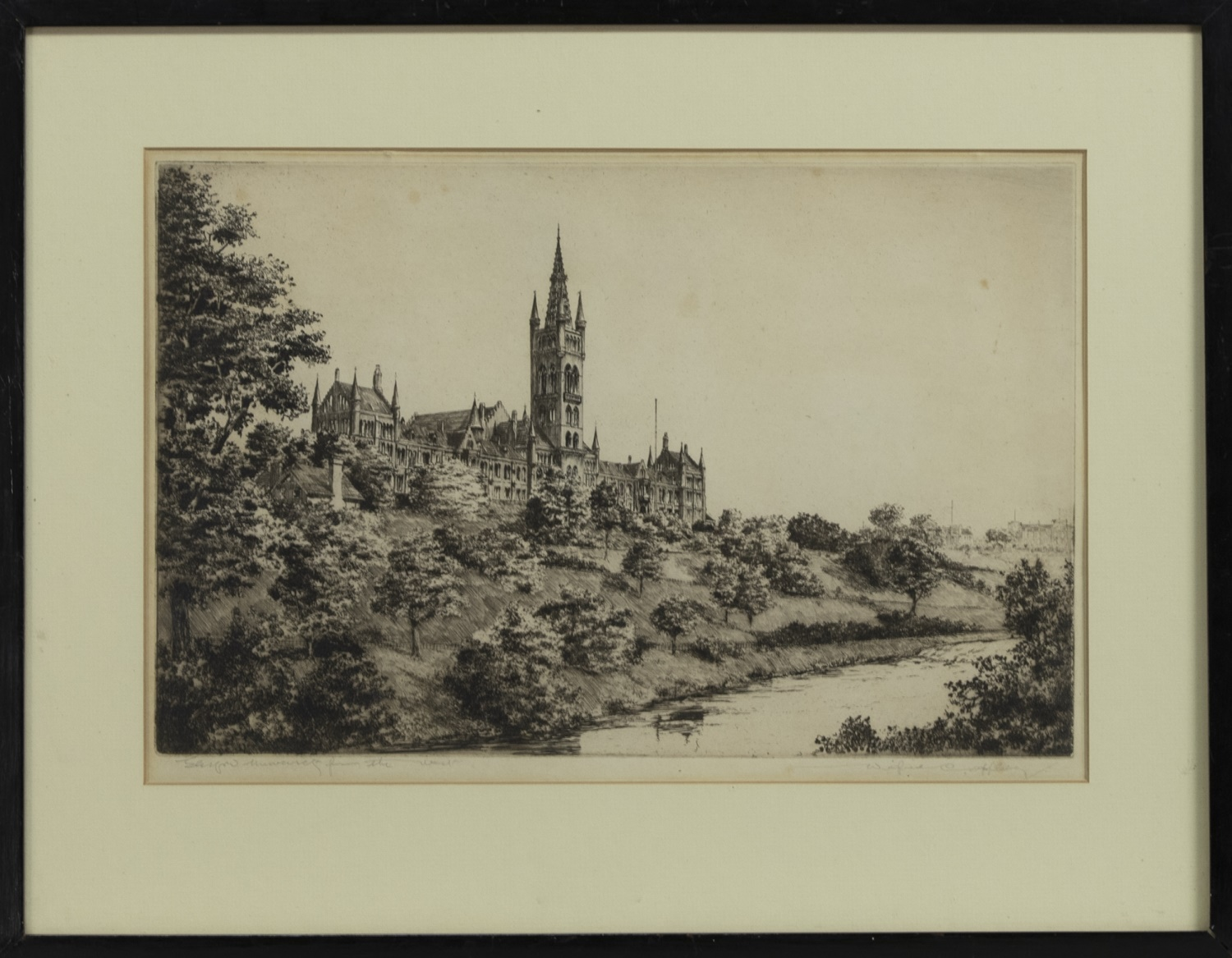 GLASGOW UNIVERSITY FROM THE WEST, AN ETCHING BY WILFRED APPLEBY