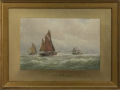 LOWESTOFT TRAWLERS GOING OUT, A WATERCOLOUR BY GEORGE STANFIELD WALTERS