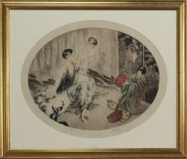 FEMMES AND MASKS, A LIMITED EDITION PRINT SIGNED 'ROSSI'