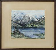 LOCH SCENE, A WATERCOLOUR BY R M MACKAY