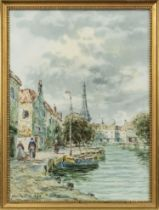 CANAL SCENES, A PAIR OF WATERCOLOUR BY JOHN HAMILTON GLASS