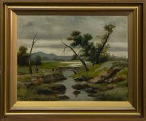 THE OLD BRIDGE, AN OIL BY ALEXANDER KELLOCK BROWN