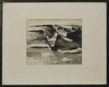 BOAT ON BEACH, A WATERCOLOUR BY DAVID BRUCE WALKER