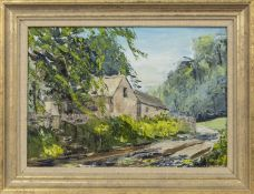 FOREST HOME, AN OIL BY JOHN B HALL