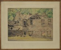 COTTAGE, A WATERCOLOUR BY K N GREENWOOD