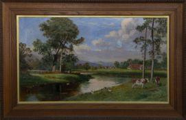 CATTLE ON THE BURN, A LARGE OIL BY JOHN FRASER