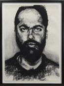 PORTRAIT OF A MAN, A CHARCOAL BY PHILIP GURREY