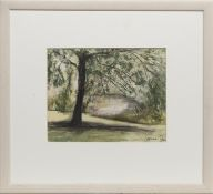 TREES AND RIVER, A MIXED MEDIA BY STEPHANIE DEES RSW
