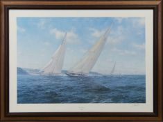 J CLASS - COWES 1934, A SIGNED LIMITED EDITION PRINT BY J. STEVEN DEWS