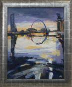 GLASGOW RIVERSIDE, AN OIL BY HELEN MCDONALD MATHIE