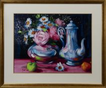 STILL LIFE WITH APPLE AND TEAPOT, AN OIL BY MARY GALLAGHER