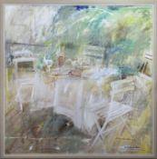 OUTDOOR CAFE, A LARGE OIL BY JO VANTOURNHOUT